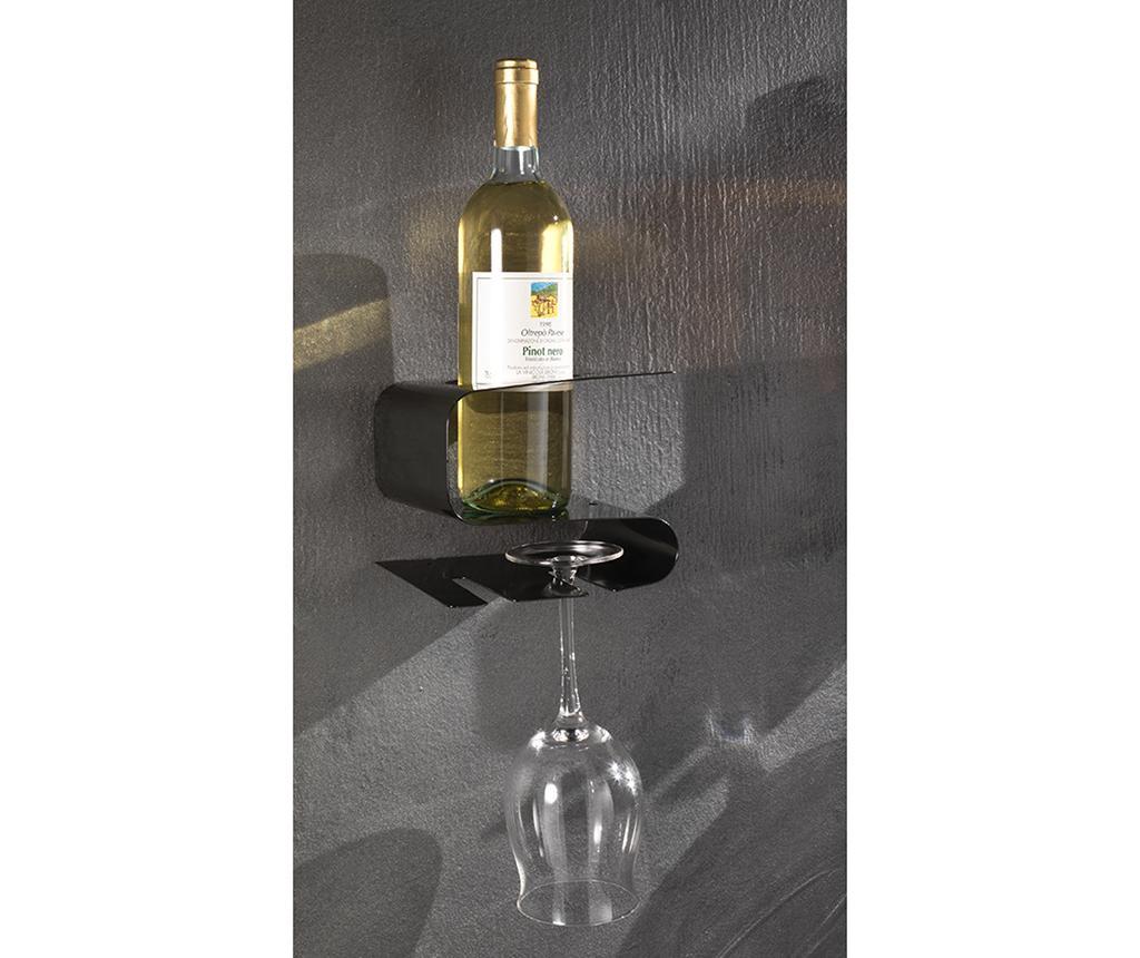 Stojalo za steklenice vina in kozarce Osteria Black