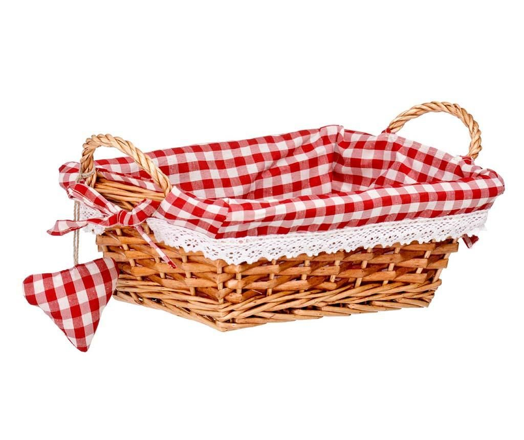 Cos pentru paine Gingham Rectangular Red S