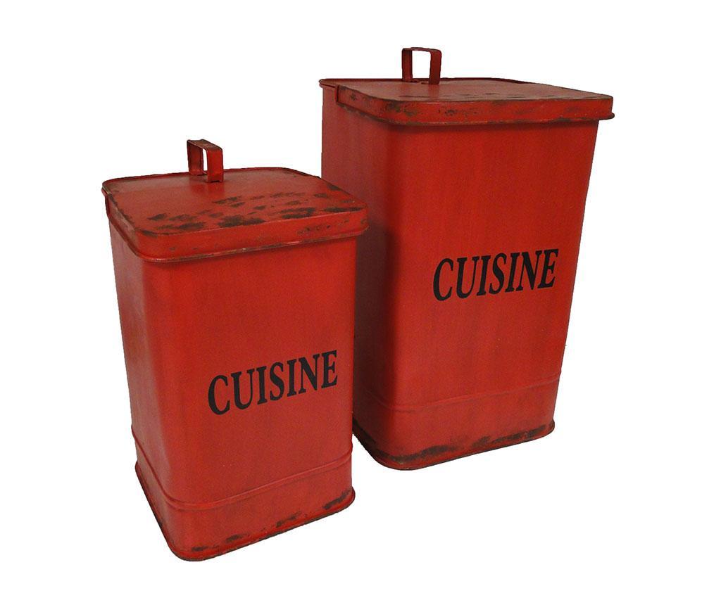Sada 2 odpadkových košov s vekom Cuisine