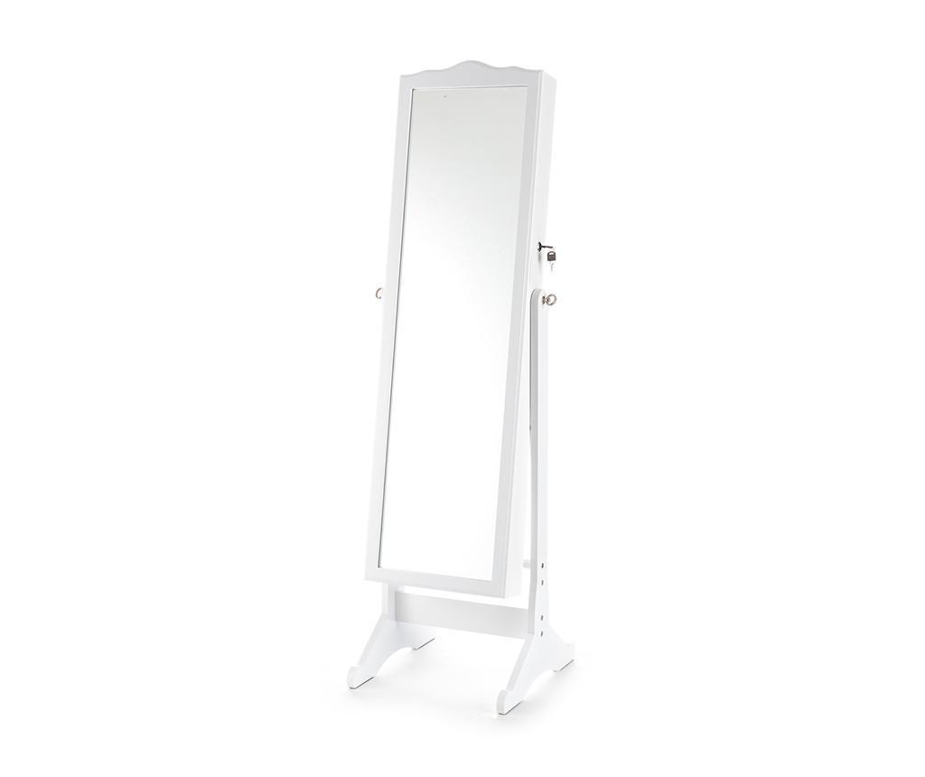 Oglinda de podea cu suport pentru bijuterii Coffer White