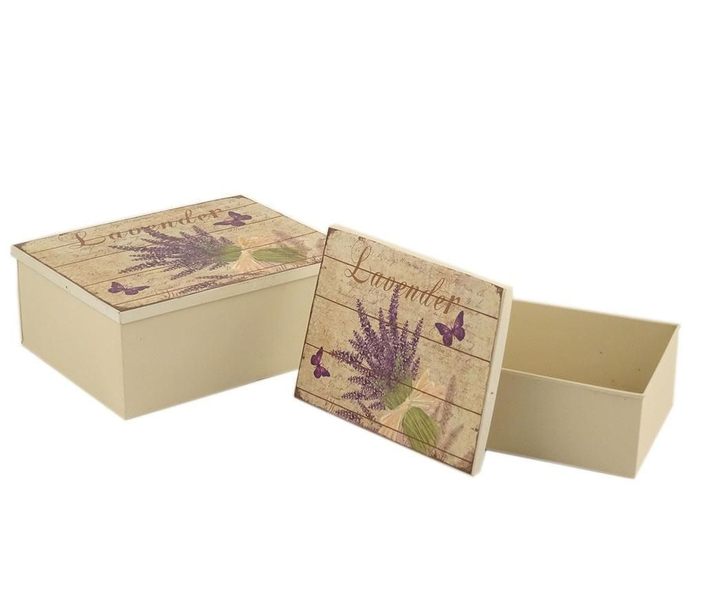 Set 2 kutije s poklopcem Lavender Bouquet Rectangle