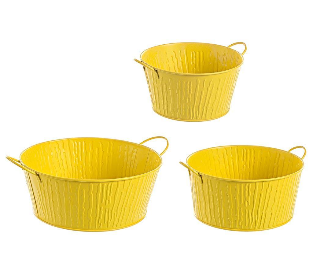 Set 3 suporturi pentru ghivece Terence Yellow Manico