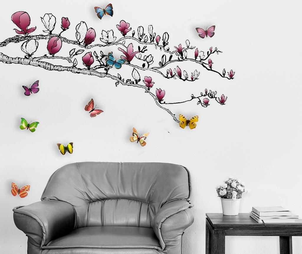 Magnolia and Colourful Butterflies Matrica