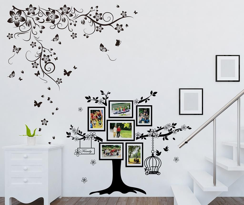 Sticker cu 6 rame foto Butterfly Vine and Photo Frame Birdcage