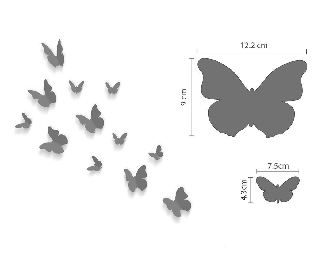 Mirror Butterflies 12 db 3D Matrica