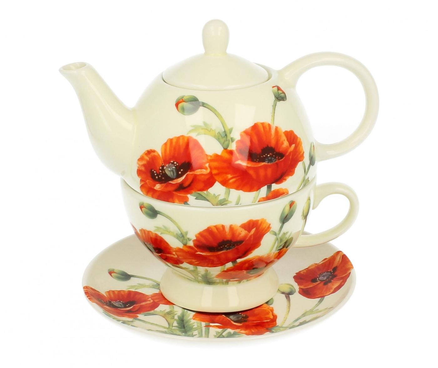 Sada čajník s šálkem a podšálkem Beautiful Poppies
