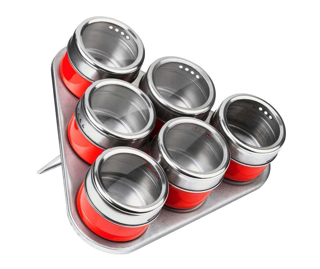 Set 6 recipiente cu capac pentru condimente si suport Cute Red