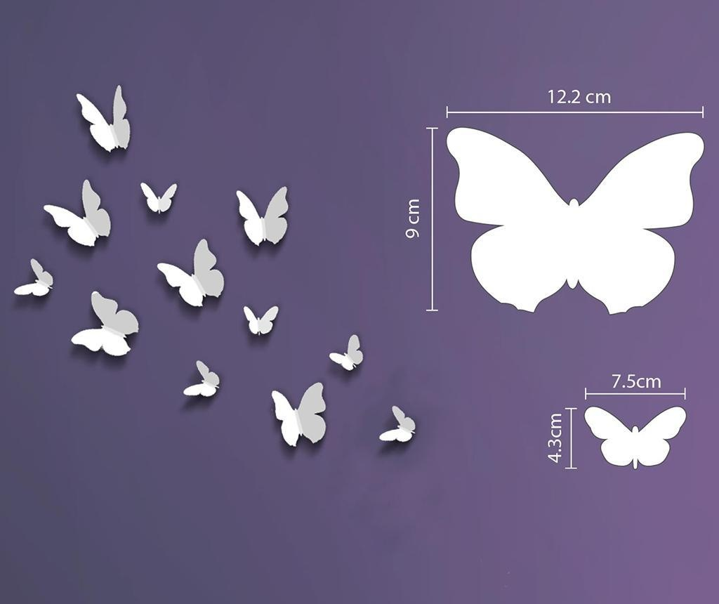 Set 12 naljepnica 3D Butterfly White