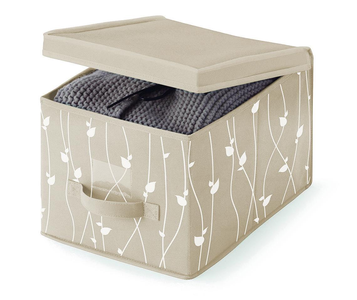 Kutija za pohranu sa poklopcem Beige Leaves S