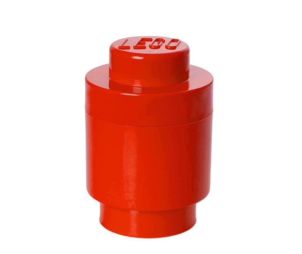 Lego Round Red Doboz fedővel
