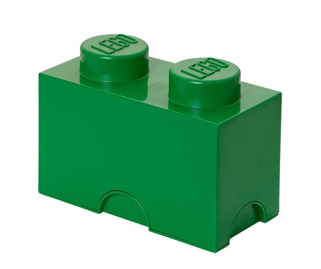 Lego Rectangular Dark Green Doboz fedővel