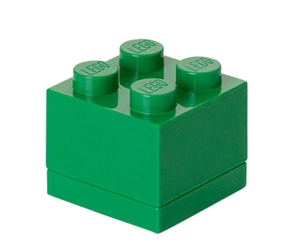 Cutie cu capac Lego Mini Square Dark Green