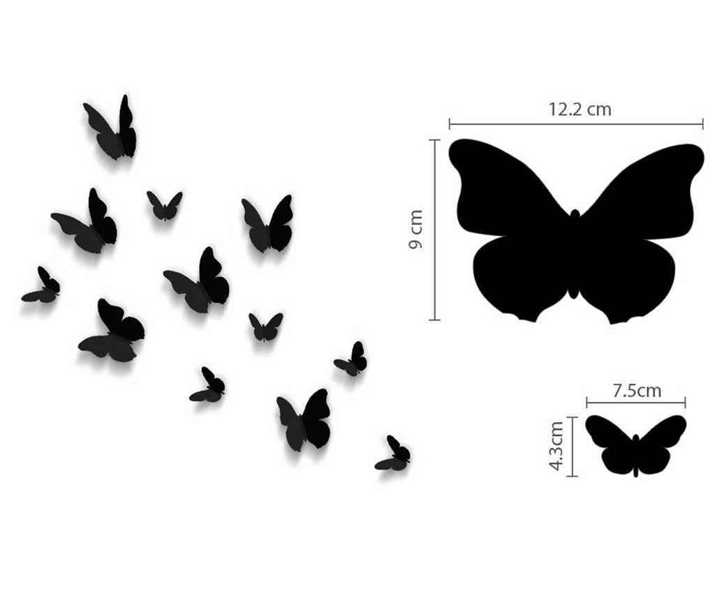 Set 12 naljepnica 3D Butterflies Simply Black
