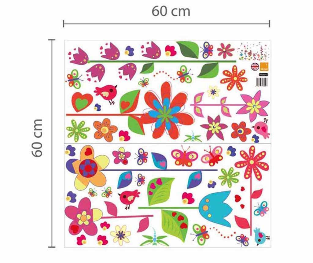 Naljepnica Colourful Flowers Butterflies