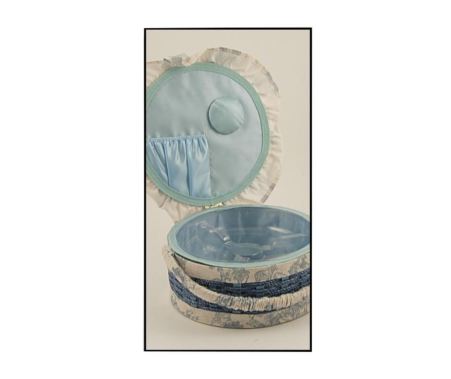 Cos cu capac pentru accesorii de cusut Round Blue