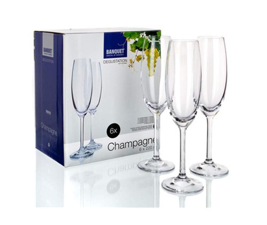 Sada 6 pohárov na šampanské Degustation Crystal Banquet 220 ml