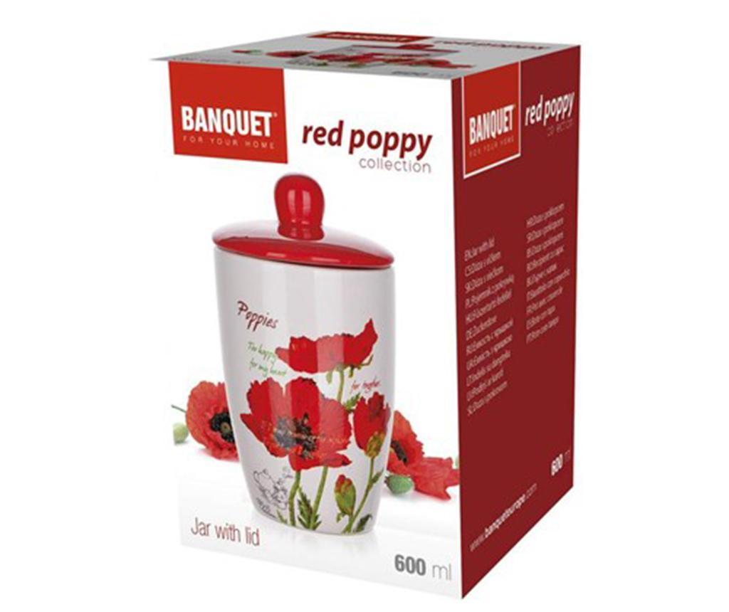 Recipient cu capac Red Poppy 600 ml