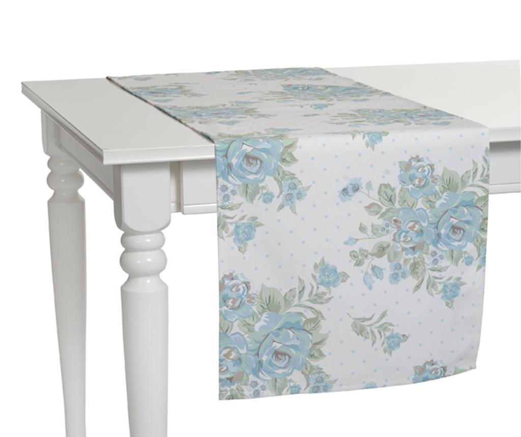 Traversa de masa Roses White Blue 40x140 cm