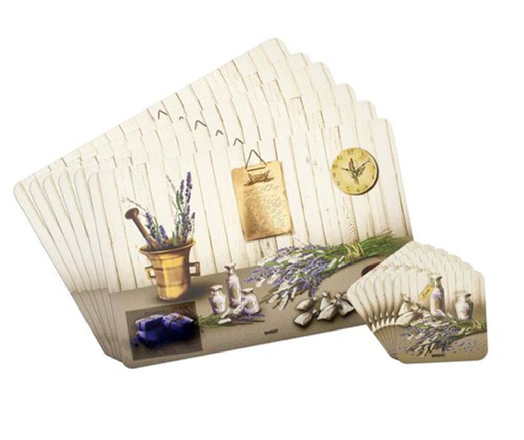 Set 6 suporturi farfurii si 6 coastere Lavender Hour