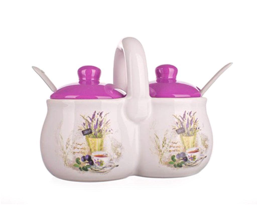 Lavender and Tea Dupla tároló fedővel és  kiskanalakkal