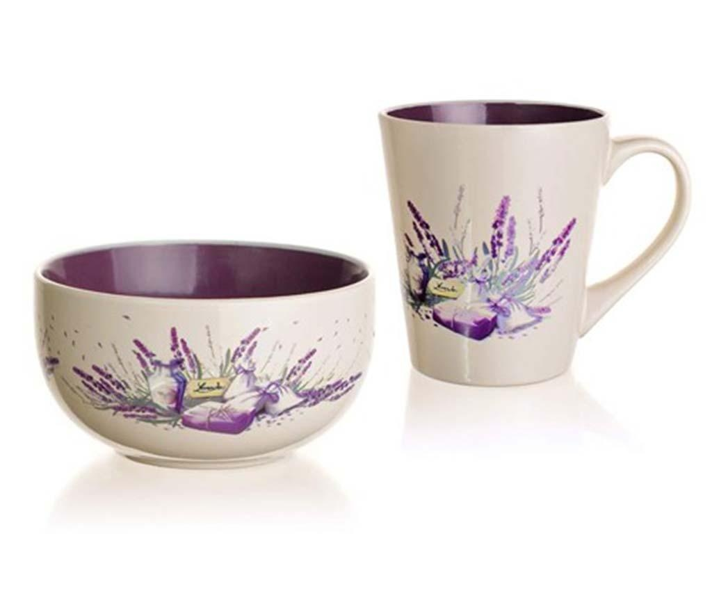 Set cana si bol Lavender Flowers
