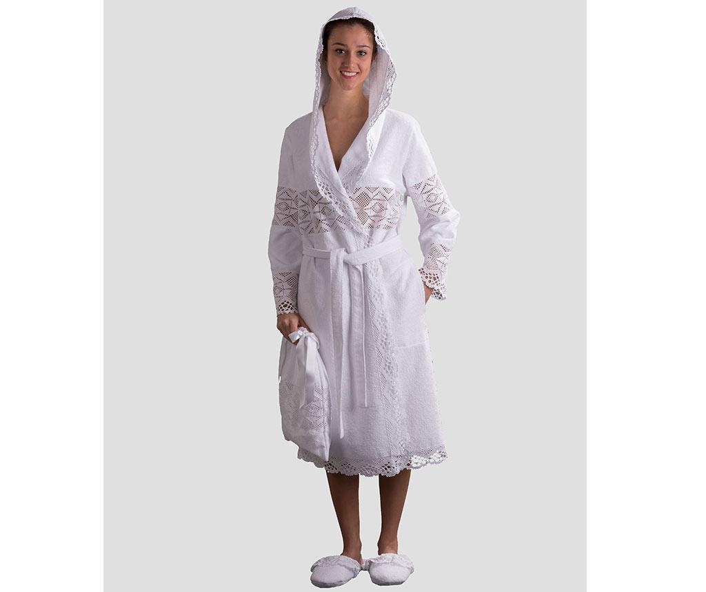 Ženski kopalni plašč Lacy Hooded White M/L