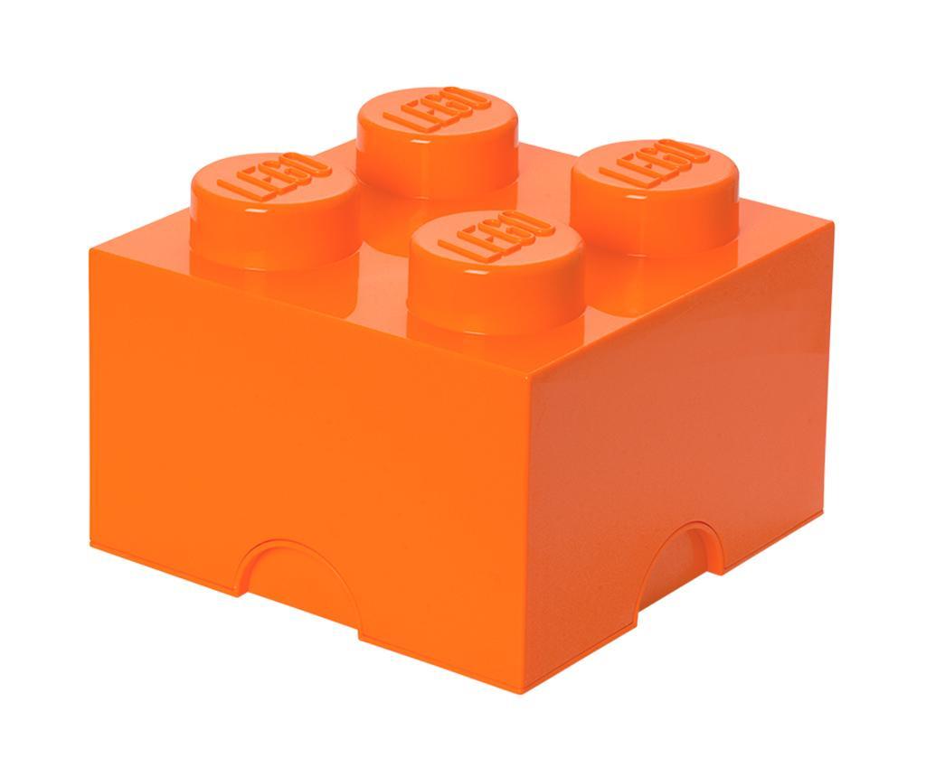 Škatla s pokrovom Lego Square Four Orange