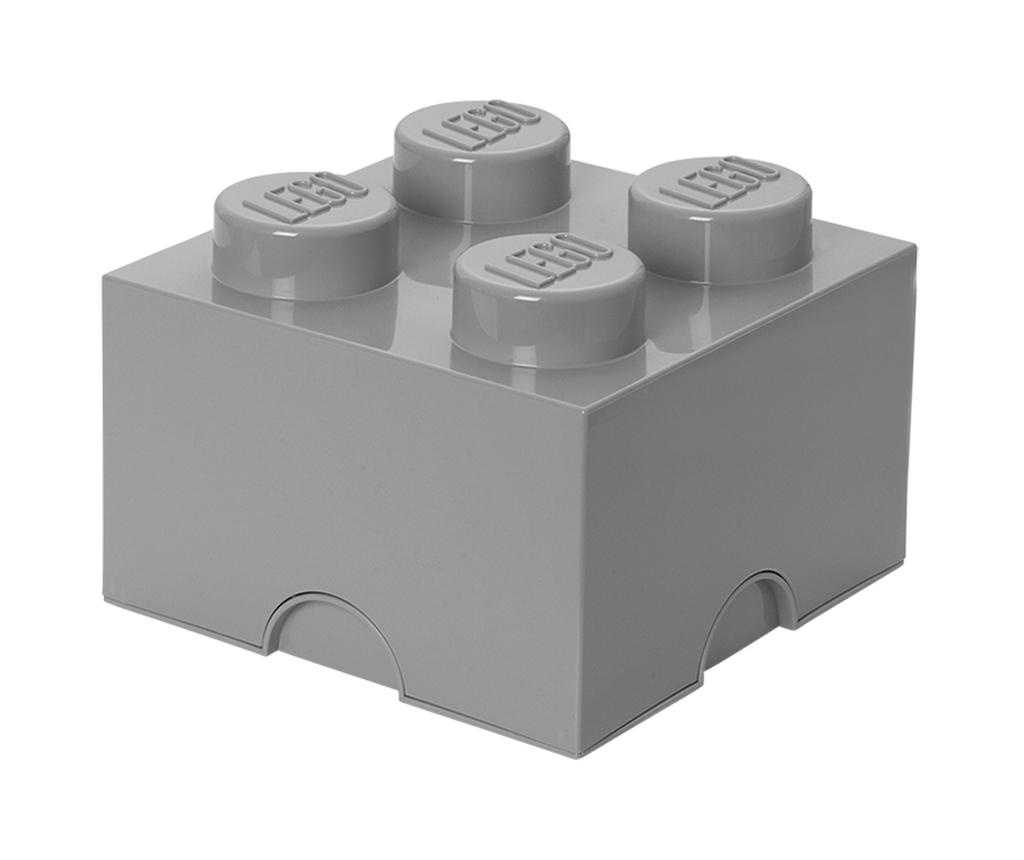 Škatla s pokrovom Lego Square Four Light Grey
