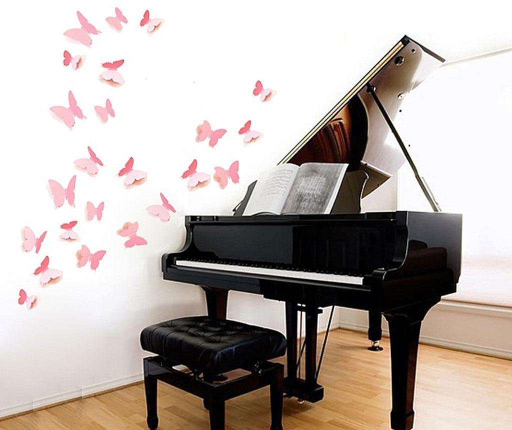 Set 12 stickere 3D Precious Butterflies Pink