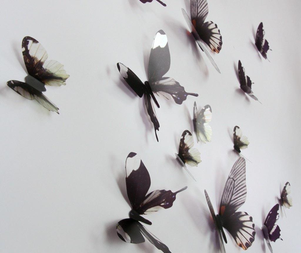 Set 18 naljepnica 3D Black Butterfly