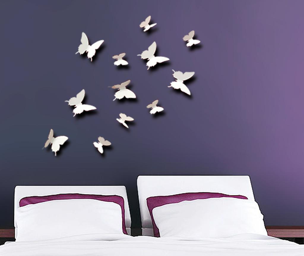Set 12 naljepnica 3D White Little Butterfly