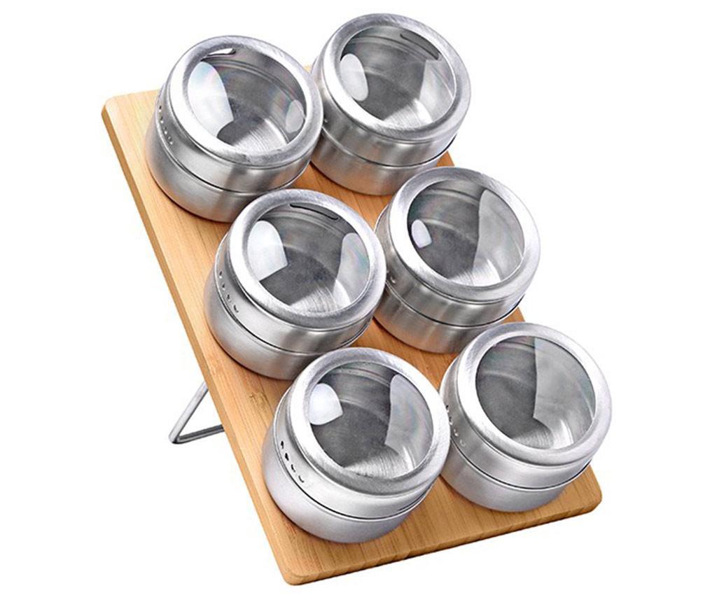Set 6 recipiente pentru condimente si suport Emet