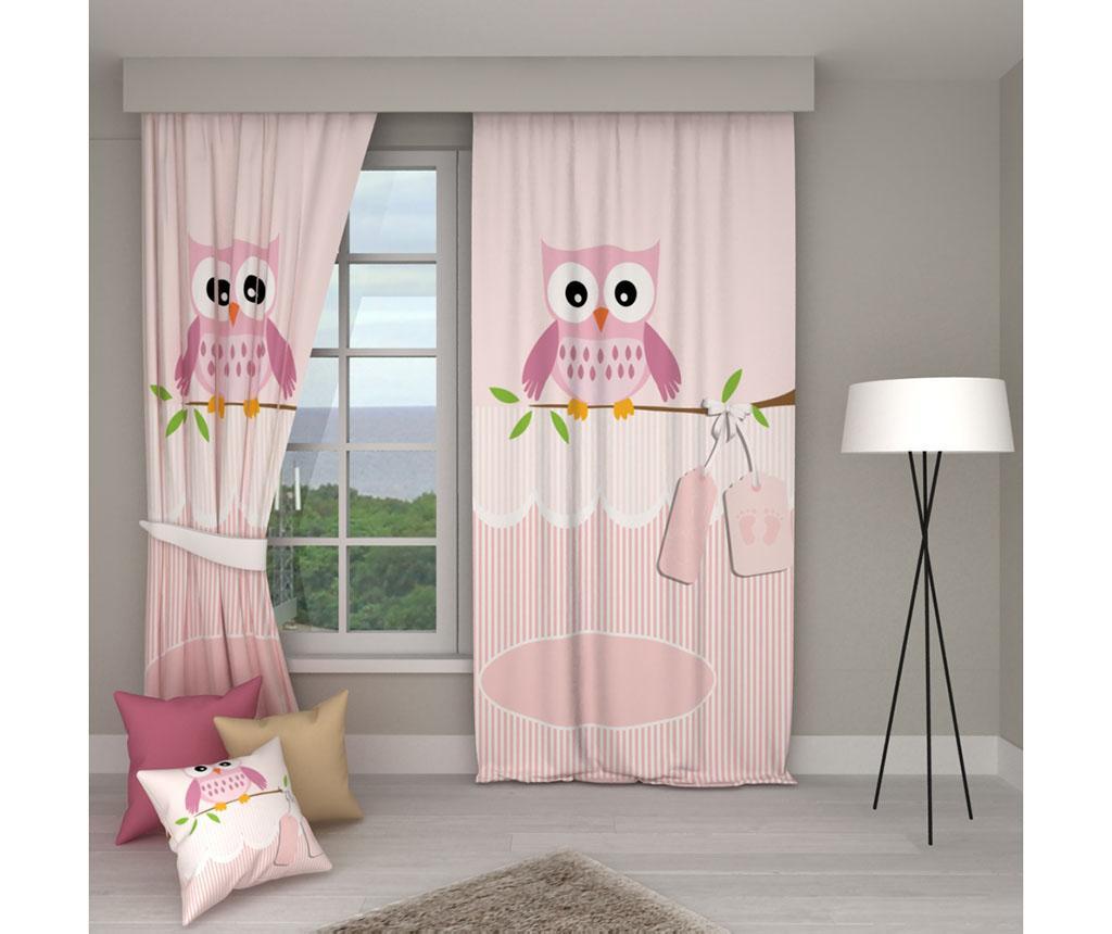 Set 2 draperii Pink Owl 140x250 cm