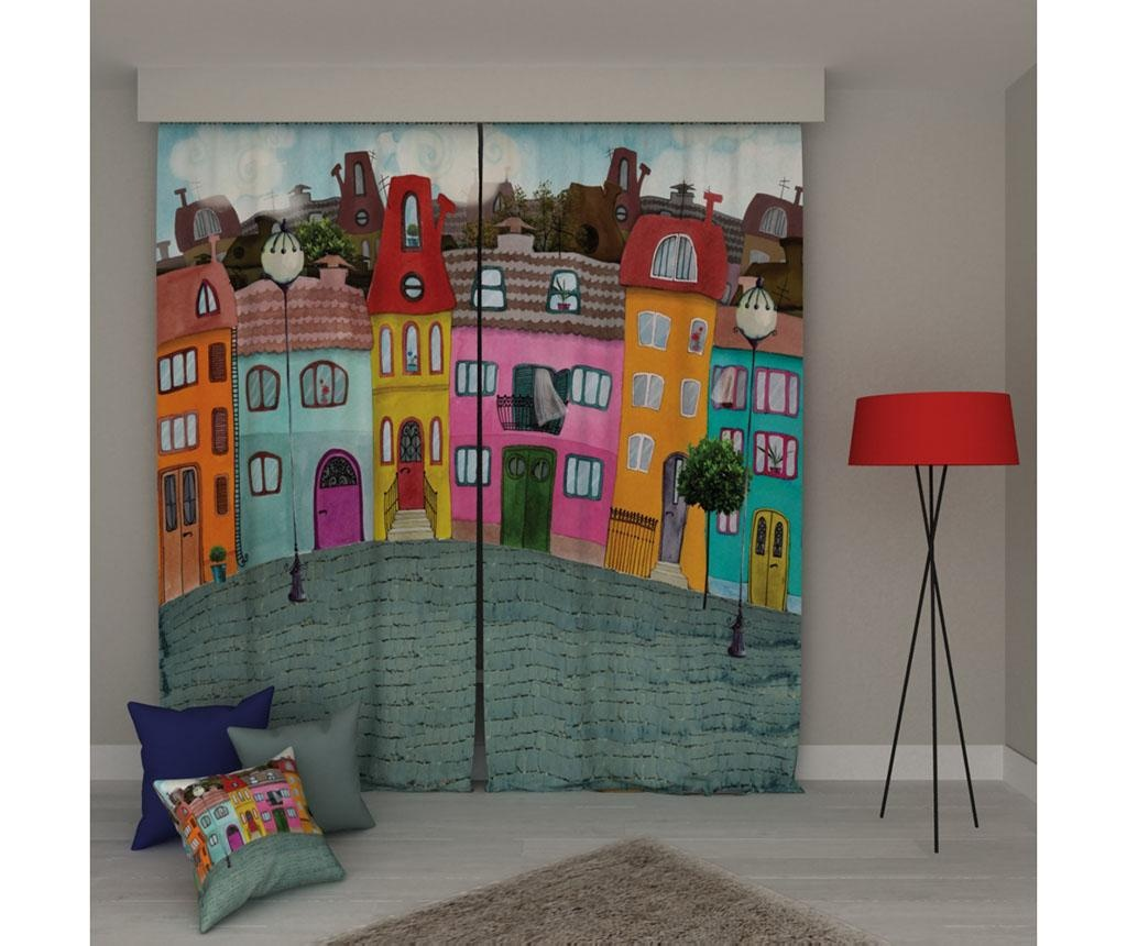 Set 2 zastorov Houses 140x250 cm
