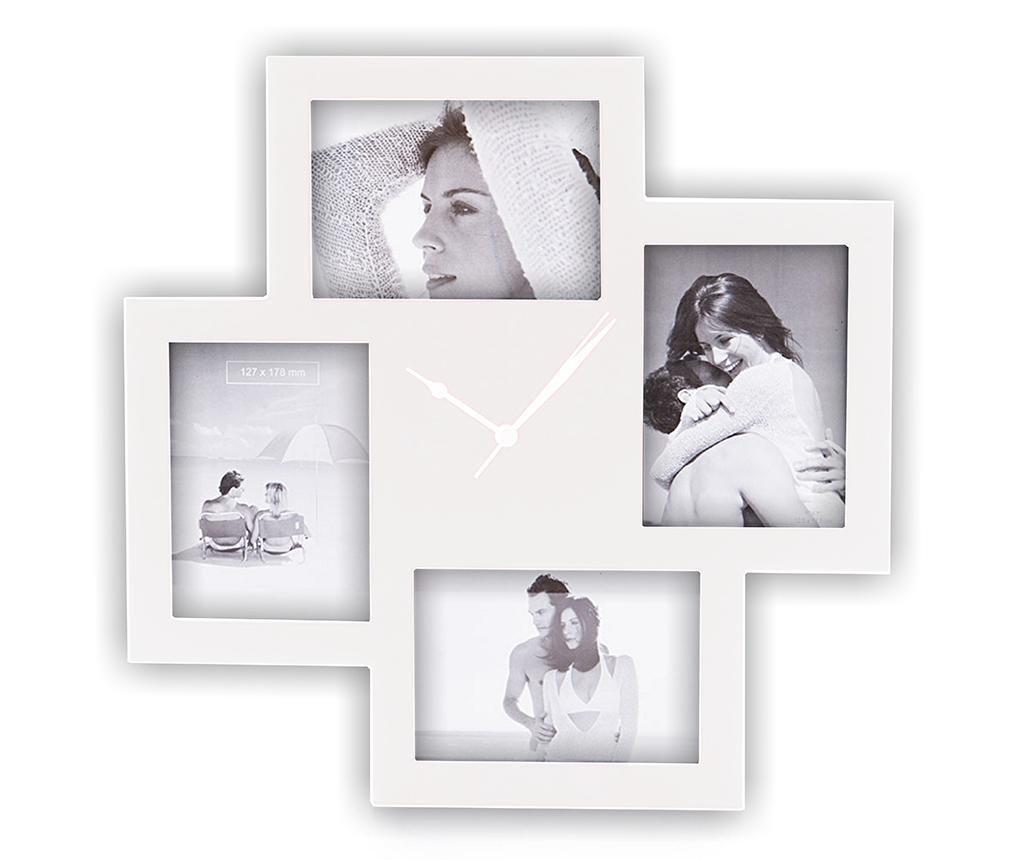 Stenska ura s 4 foto okvirji Collage White