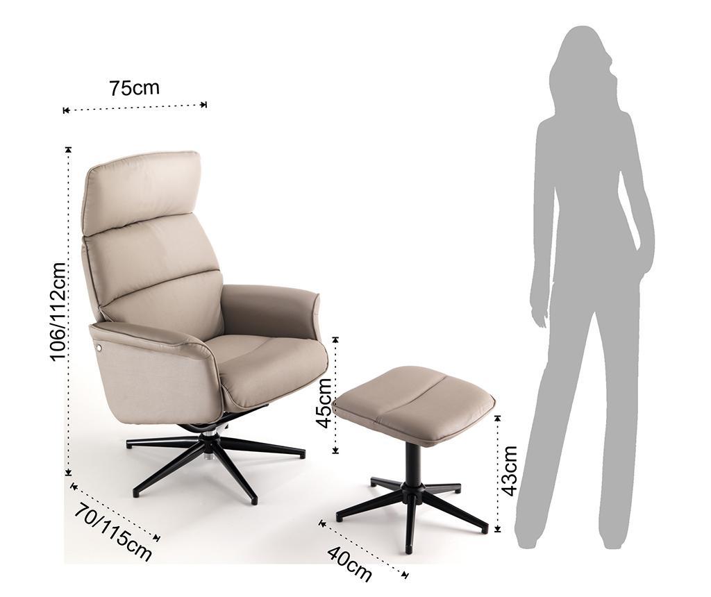 Set scaun de birou si taburet pentru picioare Clara Tortora