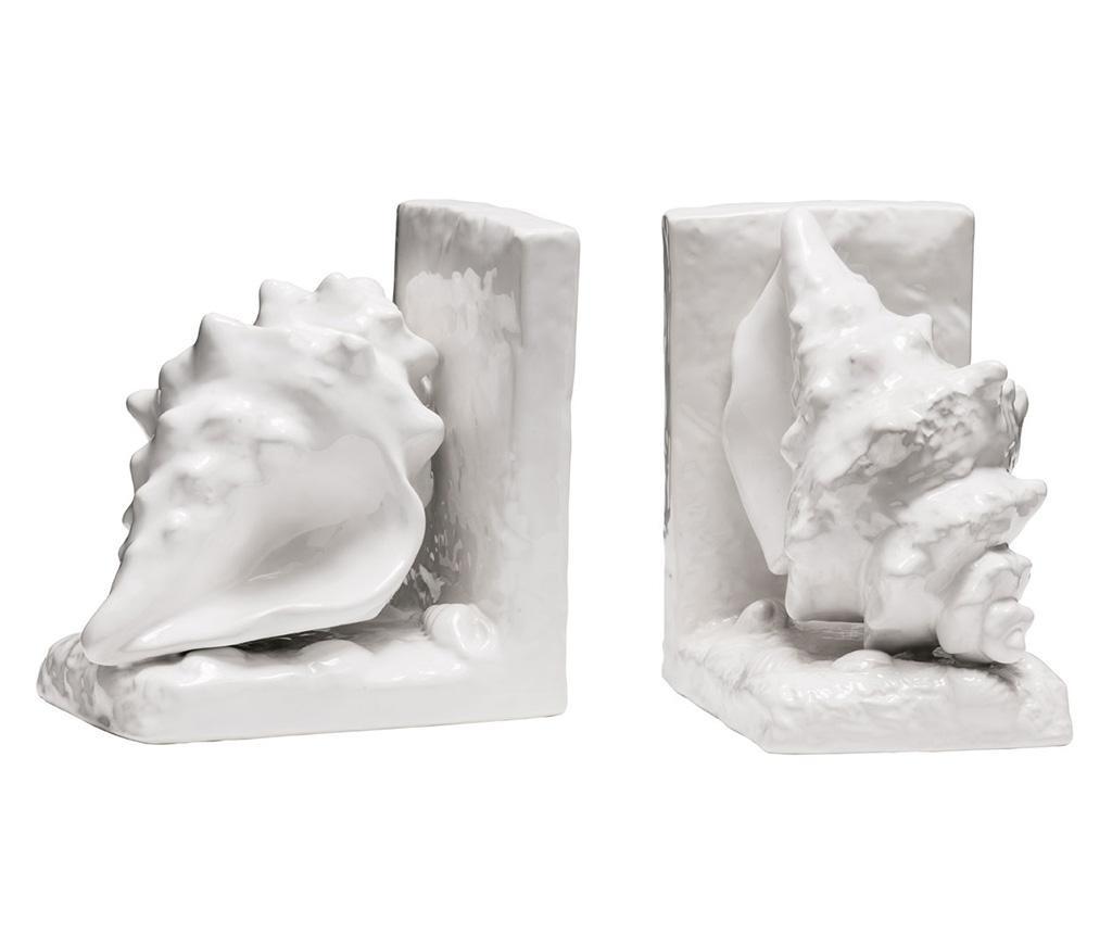 Set 2 suporturi pentru carti Conch White