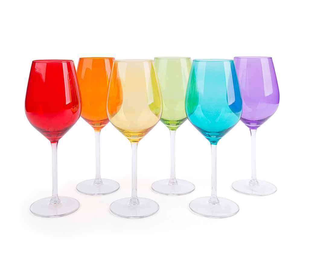 Set 6 pahare pentru vin Scatch Multicolor 500 ml