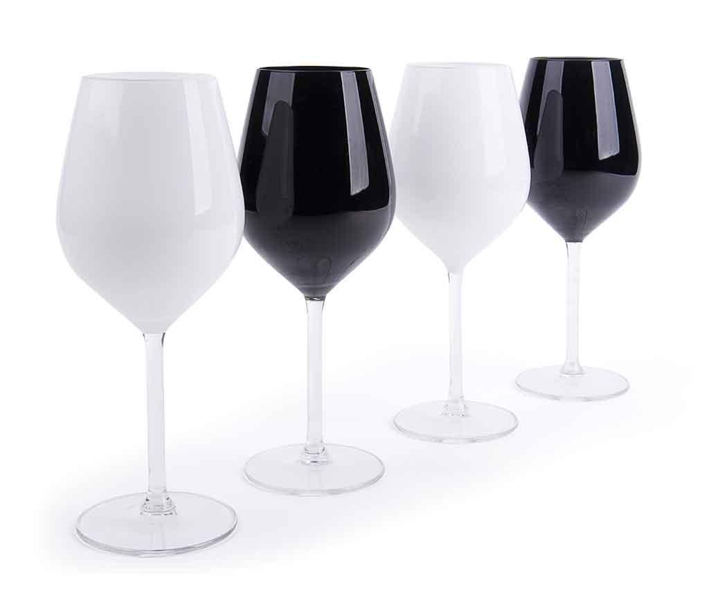 Set 4 pahare pentru vin Black & White 500 ml