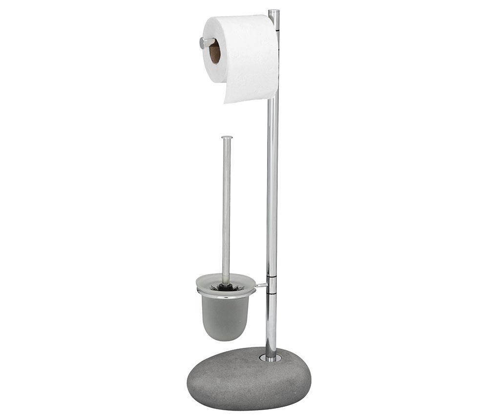 Pebble Grey WC-kefe és WC-papír tartó