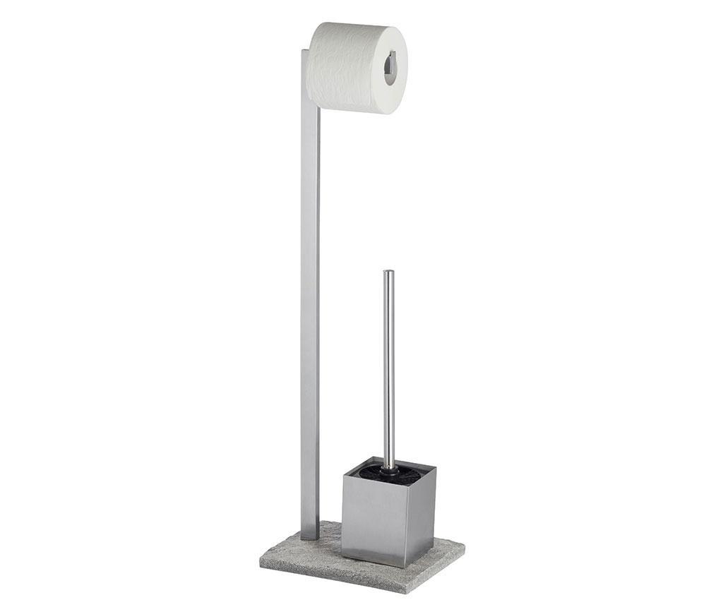 Suport pentru hartie igienica si perie de toaleta Granite Look