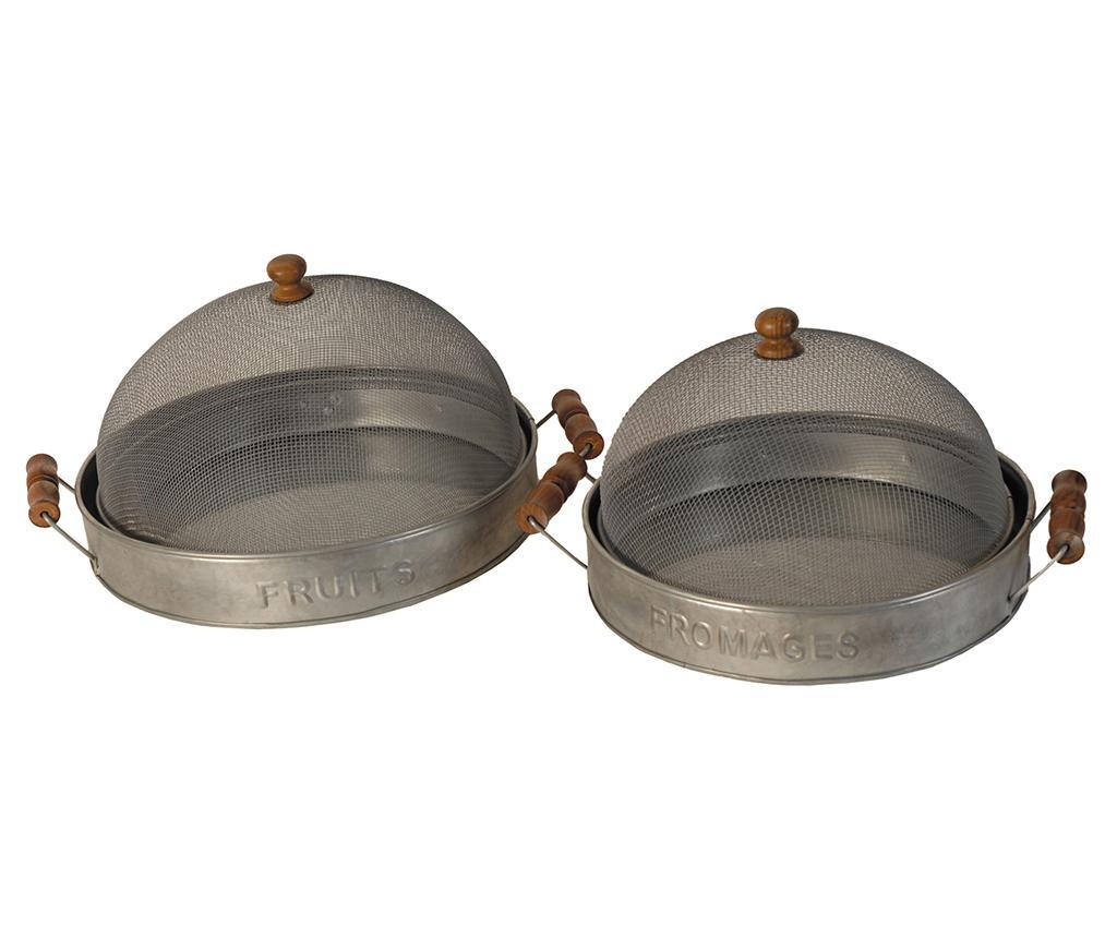 Sada 2 servírovacích podnosov s pokrievkou Antique Silver