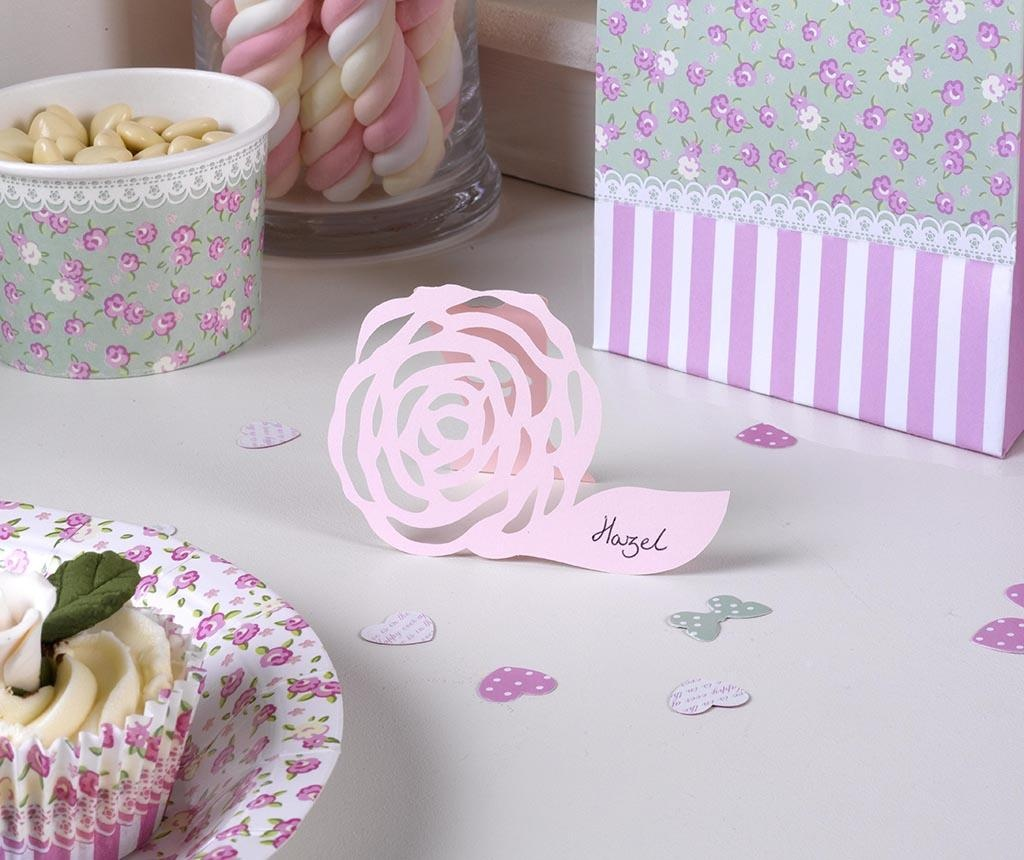 Set 10 namiznih kartic Frills Orgami Pink