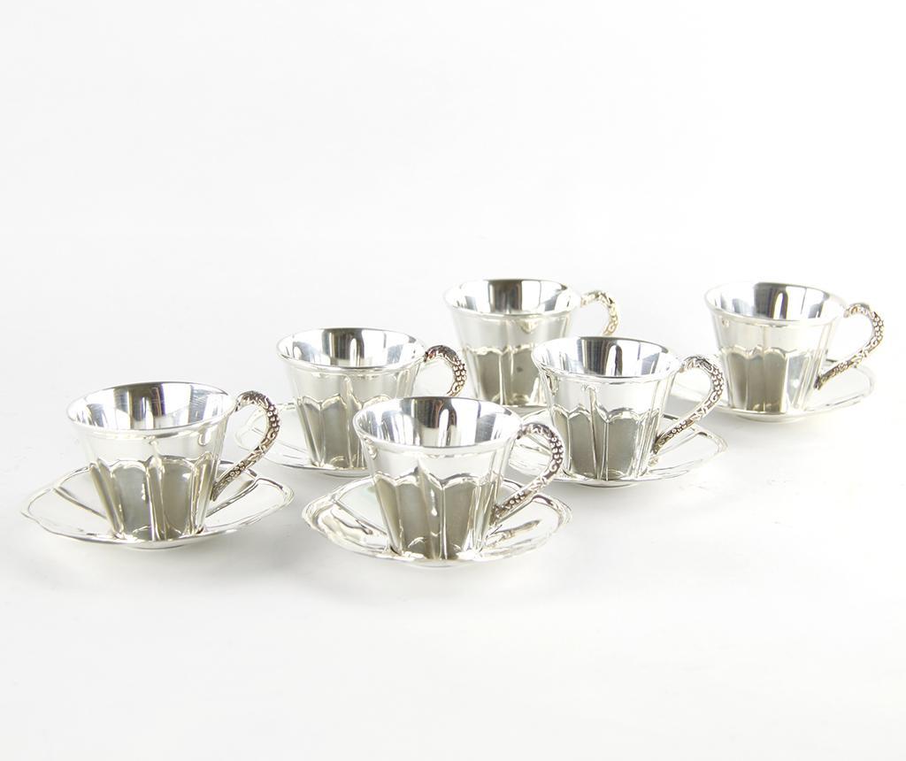 Set 6 cesti si 6 farfurioare pentru cafea Agron