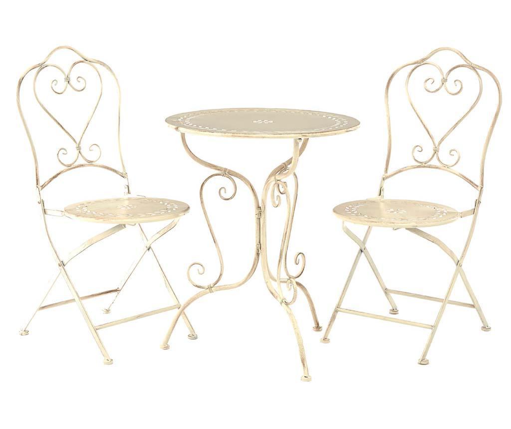 Set masa si 2 scaune pliabile pentru exterior Finchwood Cream