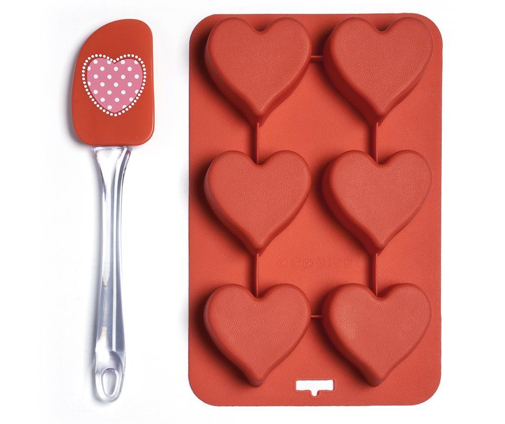 Set spatula si tava de copt cu 6 forme Heart