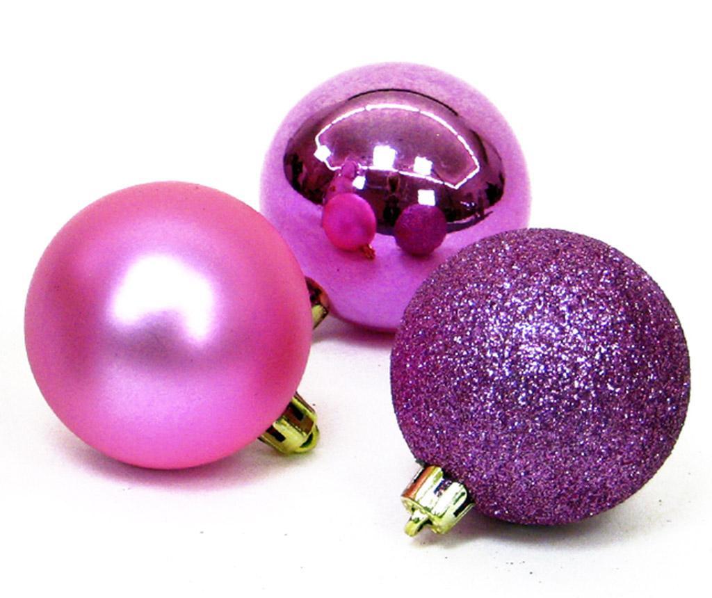 Set 12 ukrasnih kuglica Eveline Pink