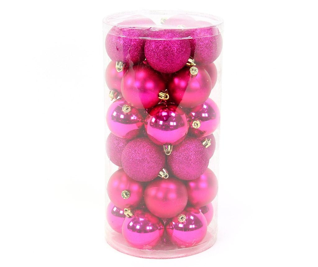 Set 30 globuri decorative Gliter Fuchsia