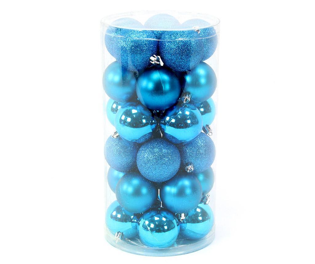 Set 30 globuri decorative Gliter Turquoise