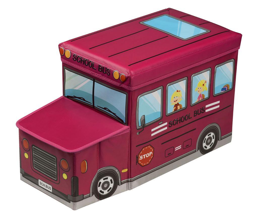 Red School Bus Tárolódoboz játékoknak fedővel
